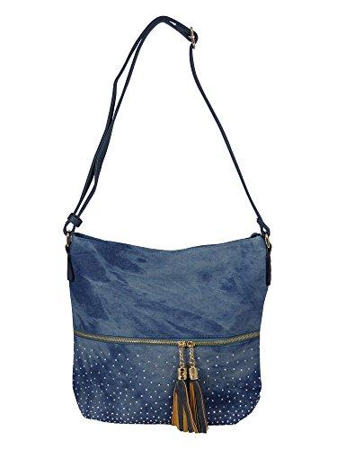 Coole Jeans Style Umhängetasche mit 2 Troddeln und kleinen Steinchen/Nieten - Glitzereffekt - Maße ohne Henkel 37x32x14 cm - Damen Mädchen Teenager Tasche - Used Look Style (blau)