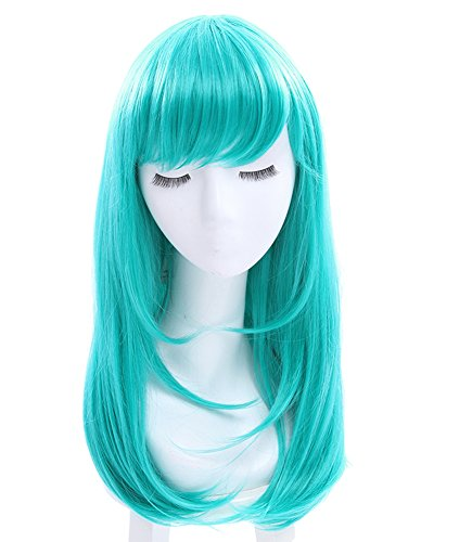 ROLECOS Womens Long Straight Party Wigs Synthetic Hair Wig Teal Green