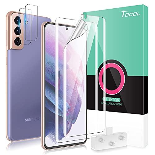 TOCOL 4 Stück Schutzfolie kompatibel mit Samsung Galaxy S21 5G 2 Stück TPU Folie, Kamera Panzerglas 2 Stück, Unterstützt Blitzaufnahmen & Fingerabdruck-ID Blasenfrei