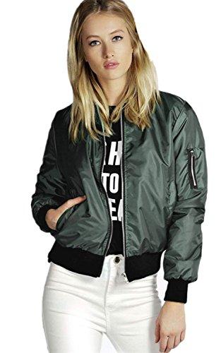 Minetom Damen Bomberjacke Kurz Blazer Jacke Mantel Steppmantel Bikerjacke Grün 38