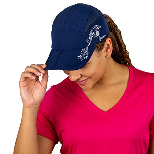 TrailHeads Folding Bill Running Hat for Women   Summer Cap with UV Protection - Navy/Print