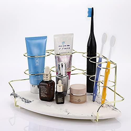 SUMTREE Soporte para cepillos de dientes de metal y mármol, 5 agujeros,...