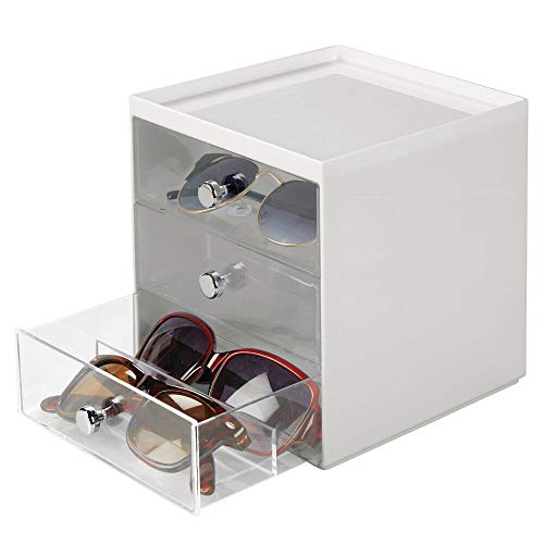 mDesign - Presentatiedoos voor brillen - brillendoos/opbergbox - met 3 gescheiden lades/met ruimte voor maximaal 9 brillen - steen/doorzichtig
