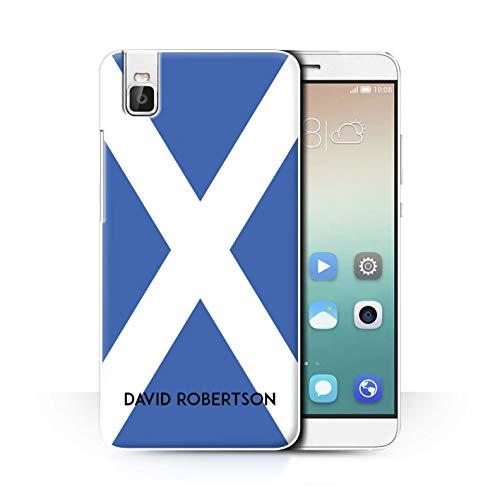 eSwish Personalisiert Persönlich National Nation Flagge 2 Hülle für Huawei Honor 7i/ShotX/Schottland/Schottisch Design/Initiale/Name/Text Schutzhülle/Hülle/Etui