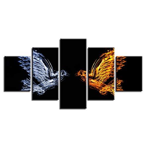 Muurkunst canvas decor woonkamer HD-druk 5 stuks dieren abstract ijs en vuur vogels beelden modulaire schilderijen (geen lijst) 40x60 40x80 40x100cm
