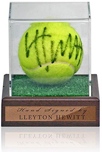 Lleyton Hewitt Pallina da tennis firmata a mano in vetrina AFTAL COA