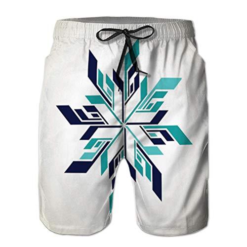Short de Plage à séchage Rapide Pour Hommes Surf Swim Avec poches Logo flocon de Neige de Hockey sur Glace abstrait panaché M