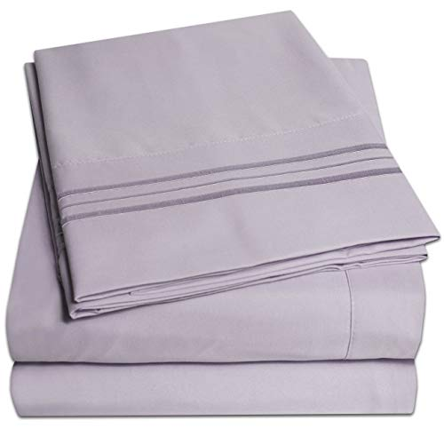 1500 Supreme Collection Extra Soft California King Sheets Set, Lilac - Luxury Bed Sheets Set Deep Pocket Wrinkle Free Hypoallergenic Bedding, Over 40 Colors, California King Size, Lilac