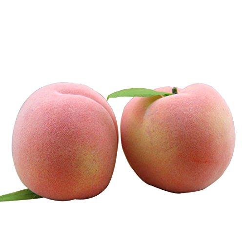Lorigun Artificial Juicy Peaches Simulación Frutas Falsas Melocotones con Hoja Apoyos de Fotos Decoración para el Hogar X 5Pcs