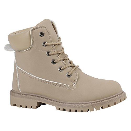 Damen Stiefeletten Outdoor Schuhe Profilsohle Worker Boots 152307 Creme Bernice 38 Flandell