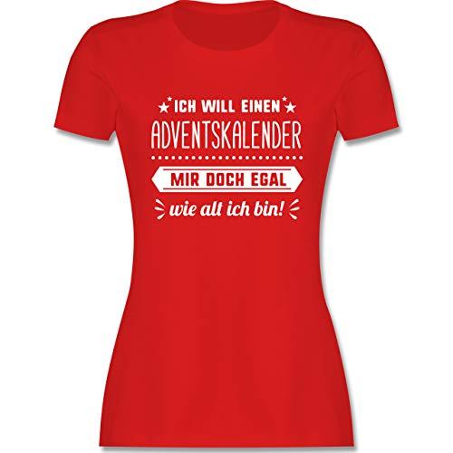 Weihnachten & Silvester - Ich Will einen Adventskalender Mir doch egal wie alt ich Bin - L - Rot - Essie adventskalender - L191 - Tailliertes Tshirt für Damen und Frauen T-Shirt