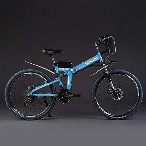 Hyuhome Ebikes pour Adultes, électrique Pliant vélo VTT Dirtbike, 26' 48V 10Ah 350W IP54 étanche, Facile de Stockage Pliable électrique Bycicles pour Hommes,Bleu