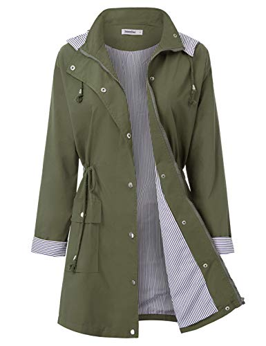JASAMBAC Rain Coats for Women Light Rain Jacket Plus Size Long Style Army Green 2XL