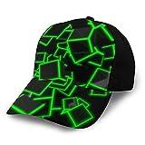 ZORIN Cappellino da Baseball per Uomini Donne 3D Verde Neon Quadrato Nero Hip Hop Caps Regolabile Snapback Cappelli Papà Trucker Cappello