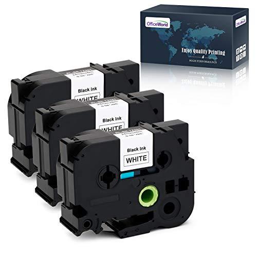 OfficeWorld 3 x Compatibile Brother TZe-251 Cassetta Nastro TZe251 TZ-251 TZ251 Nero su bianco, Compatibile con Brother P-touch PT-7600 PT-P700 PT-P750W PT-E550WVP PT-9700PC PT-9800PCN, 24m x 8m
