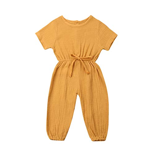Toddler Baby Girl Summer Fall Basic Plain Short Sleeve Cotton Linen Drawstring Romper Jumpsuit (Mustard Yellow, 3-4T)