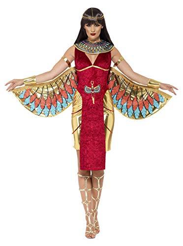 Smiffys-43734S Disfraz de Diosa egipcia, con Vestido, alas, Collar y Adorno para la Cabeza, Color Rojo, S-EU Tamaño 36-38 (Smiffy'S 43734S)
