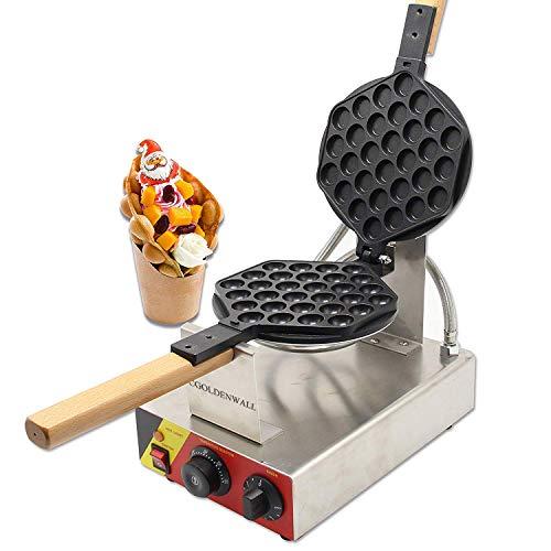 CGOLDENWALL NP-547 Gofrera Máquina de Gofre con Forma de Huevo del Estilo de Hong Kong Waffle Maker Eléctrica Antiadherente de Acero Inoxidable con Control de Temperatura&Rotación de 180° 220V