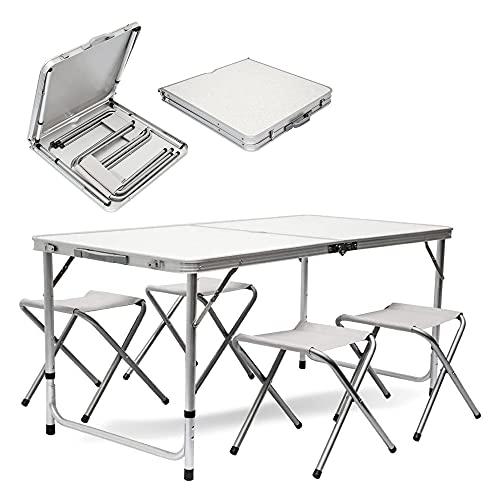 MaxxGarden Table de Pique-Nique Pliante, avec Quatre tabourets, très Haute qualité, Facile à Nettoyer et à Plier, 120 x 70 cm (Blanc)