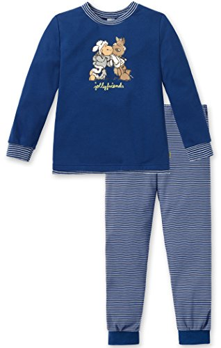 Schiesser Mädchen langer Schlafanzug / Pyjama 149783 in Blau (800-blau ), Kleidergröße:116;Farbe:Blau (800-blue)