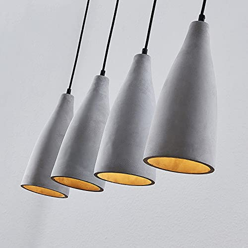 Lindby Beton Pendelleuchte 'Sanne' (Modern) in Alu aus Beton, u.a. für Wohnzimmer & Esszimmer (4 flammig, E27, A++) - Deckenlampe, Esstischlampe, Hängelampe, Hängeleuchte, Wohnzimmerlampe