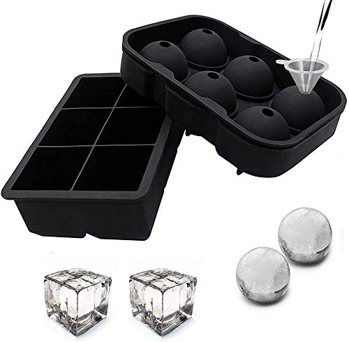 Gopendra Silicone Square Ice Cube Mold and Ice Ball Mold for Whiskey (Set of 2) - Large Whiskey Ice Cube Trays and Sphere Ice Ball Maker with Lid - BPA Free, Reusable & Flexible Design (Black)