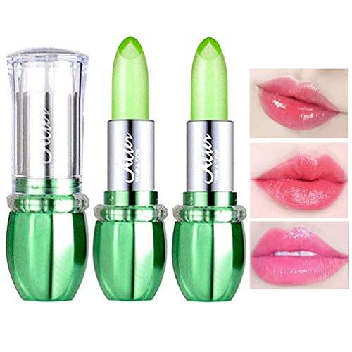 SuperThinker 2 Pack Aloe Vera Lipstick, Long Lasting Nutritious Lip Balm Lips Moisturizer Magic Temperature Color Change Lip Gloss, Moisturizing Lip Care Lipstick (2Pcs Green)