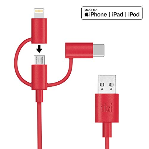 NEU equinux tizi Schlitzohr - USB-C, Lightning und Micro-USB Multikabel (1m, rot) Ladekabel offiziell von Apple 'Made for iPhone, iPad und iPod (MFi)' zertifiziert, perfekt für iPhone X, iPhone 8, iPhone 8 Plus, iPhone 7, iPhone 7 Plus, iPhone 6S, iPhone 6S Plus, iPad, iPad Pro