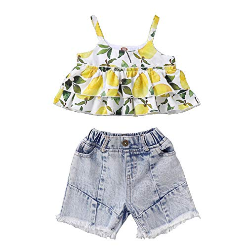 JEELLIGULAR Toddler Kids Baby Girls Summer Clothes Ruffle Strawberry Halter Tops Elastic Jeans Shorts Pants 2Pcs Outfits (18-24 Months, Lemon)