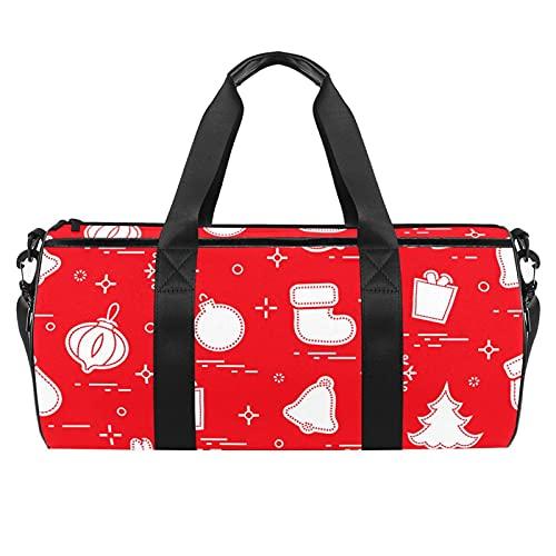 Bolsa deportiva de viaje con asas y correa para el hombro temática de Navidad