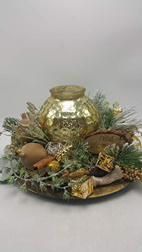 Weihnachtskranz Weihnachtsgesteck Adventskranz Windlicht Zapfen Beeren Geschenke