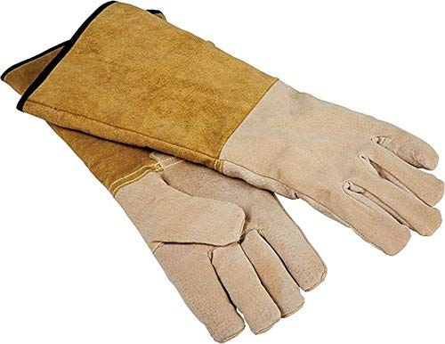 """Rocky Mountain Goods Leather Fireplace Gloves 16""""- Extra Long Heat Resistant Pig Skin Leather - Large - Premium Suede Gloves for fire pits, Grilling, Welding, Cooking - Unisex Design - Hang Strap"""