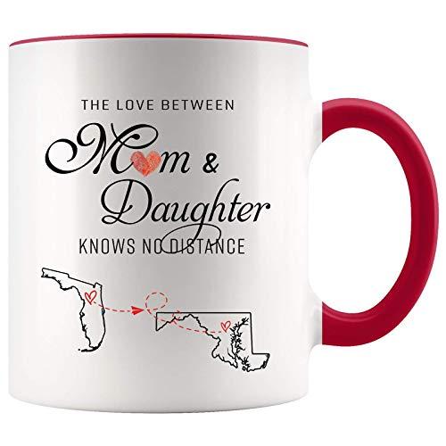 Taza de larga distancia para mamá Florida Maryland El amor entre mamá e hija no conoce la distancia Feliz día de la madre El mejor regalo del día de la madre presenta una taza de café Taza decorativa