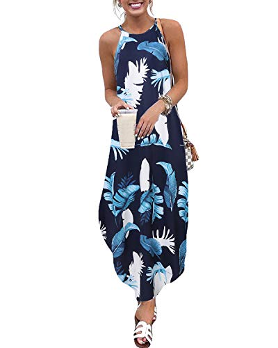 CNFIO - Vestido de verano/de playa largo y elegante para mujer. Sin mangas y liso