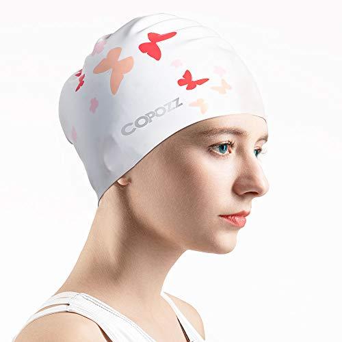 COPOZZ Erwachsene Badekappe Damen, Silikon Aufrüsten Wasserdicht Schwimmkappe Langes Haar Badekappen Anti-Leck Swimming Cap Bademütze für Mädchen mit Lockigem, Mittellangem Haar