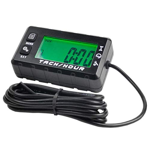 Digital Hour Tachometer RPM Counter Inductive Hour Meter Small Engine Tachometer Track Oil Change Can be Turned off Backlit Single Resettable Hour Meters for Motorcycle ATV Boat