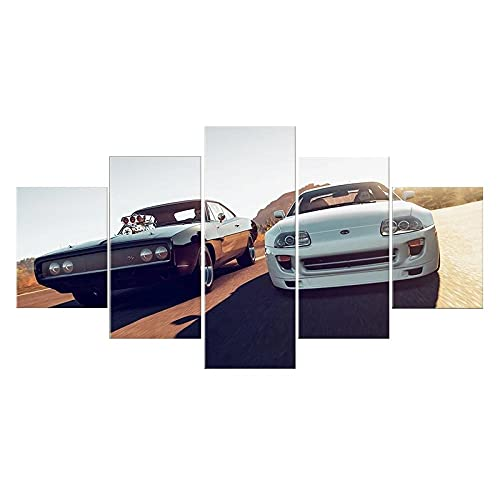XIAYF Fast & Furious 9 Movies 5 Piezas Cuadro en Lienzo Modernos Material no Tejido, Lienzo ArtíSticas Hd PóSter, Modernos Decoración Hogar Dormitorios Sala de Estar (150x80cm Marco)