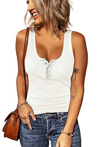 Aleumdr Top sexy para mujer, camiseta de tirantes de punto, camiseta sin mangas, blusas, chaleco corto para verano, sexy, camiseta de punto A blanco. L