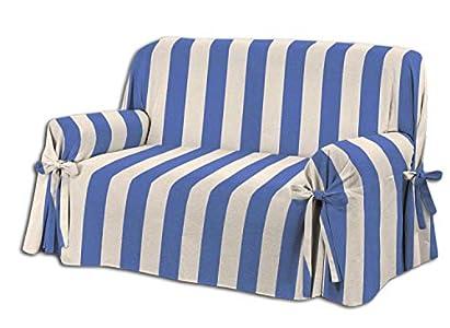 HomeLife – Cubre sillón – Elegante Protector de sofás a Rayas – Funda de sofá de algodón para Proteger del Polvo, Las Manchas y el Desgaste, Fabricado en Italia – Azul/Beige