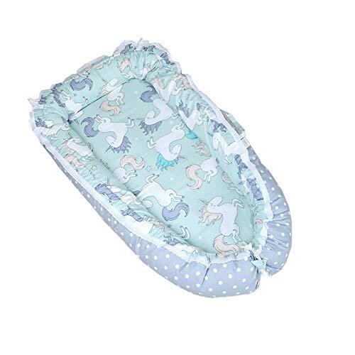 ZRWZZ Draagbare babynest, drukbestendig, geïsoleerde multifunctionele babynest, gestreepte babyslaapschaal met 360 ° geleidingsplank, opvouwbaar babynest van kunststof voor pasgeborenen