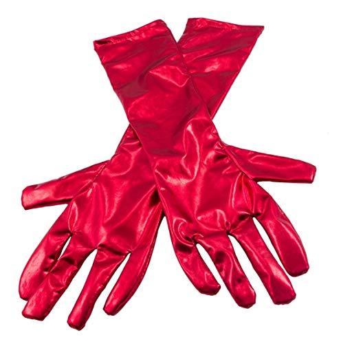 Metallic gekleurde handschoenen voor dames, rood