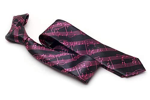 Corbata fina negra y blanca para llevar musicales, color fucsia y negro