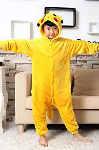 Unisex Pyjamas Adult Animal Onesies Kinder-Cartoon-capuchon Multifunctionele pyjama's uit één stuk herfst en winter Verdikking flanel, Justtime 140# geel