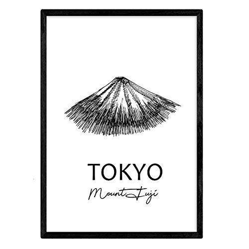Poster of Tokyo - Mount Fuji. Sheets with monuments of cities. A3 siz