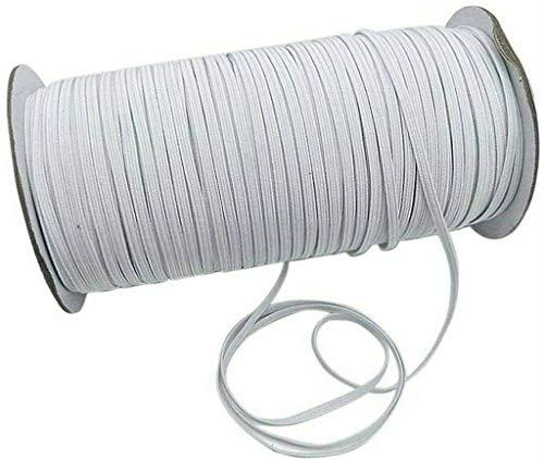 Plat gevlochten elastiek met koord, zware elastische elastische band, elastisch touw, bungee, zware elastische gebreide elastische spoel, voor naaien-8mm-Wit-20Meter