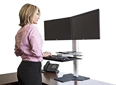 Uprite Ergo Sit2Stand Desktop Height Adjustable Workstation - Dual Monitor