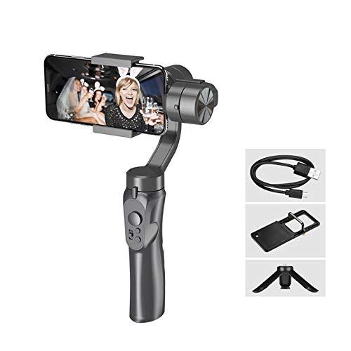 Andoer Stabilizzatore per smartphone con giunto cardanico a 3 assi palmare Batteria al litio integrata con mini treppiede Piastra di adattamento per fotocamera sportiva