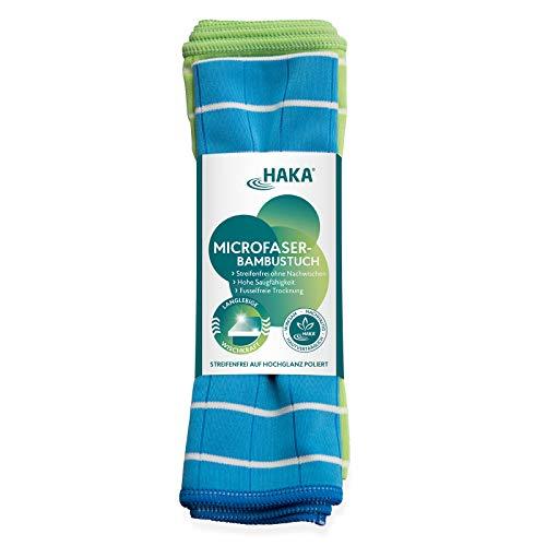HAKA Microfaser-Bambustücher I 2 Stück I Streifenfrei trocken I Auf Hochglanz poliert