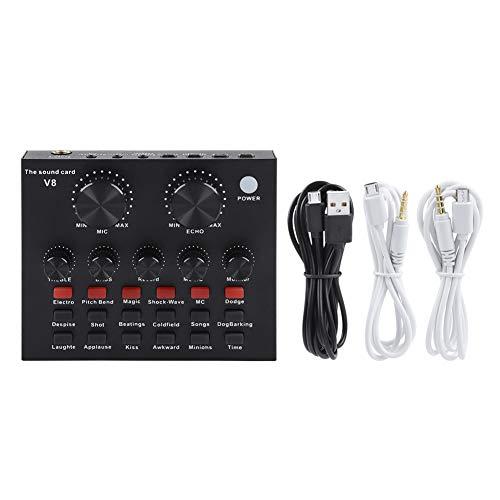 Mobiele computer PC Karaoke Voice Mixer, Audiomixer Externe USB-headset Microfoon PC Live geluidskaart Karaoke voor live uitzending Opname Thuis KTV