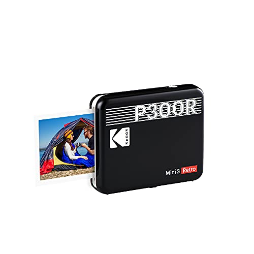 "Kodak Mini 3 Retro 3x3"" Portable Photo Printer, Compatible with iOS, Android & Bluetooth Devices, Real Photo: 4Pass Technology & Laminating Process, Print Photos - Black"